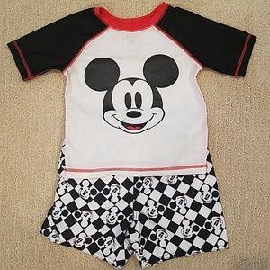 Mickey Mouse bathing suit and rashguard set